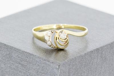 14 Karaat bicolor gouden ring gezet met Diamant & Zirkonia