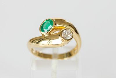 18K gouden fantasie ring met Smaragd en Diamant