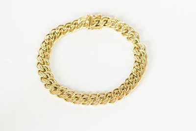 14 Karaat geelgouden gevlochten schakelarmband - 18,5 cm