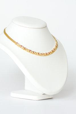 18 Karaat geelgouden Collier met Diamant & Robijn