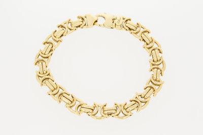 14K gouden platte koningsarmband -22 cm