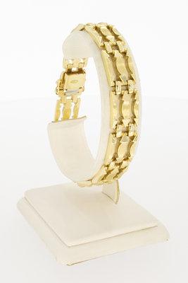 14 karaat brede geelgouden schakelarmband - 19,5 cm