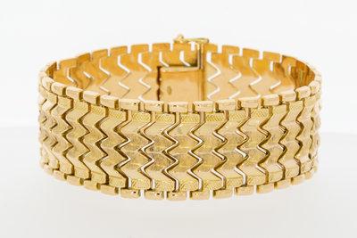 18 Karaat Brede gouden schakel armband - 20 cm