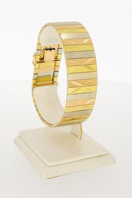 18 Karaat tricolor gouden brede armband - 19,5 cm