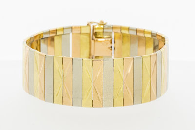 18k tricolor gouden brede schakel armband- 19,5 cm