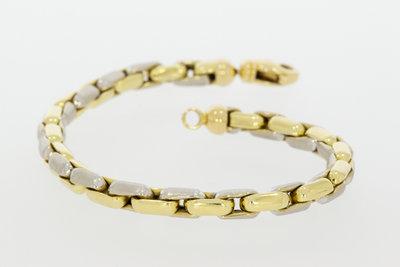 14K bicolor gouden Fantasie schakel armband- 18 cm VERKOCHT