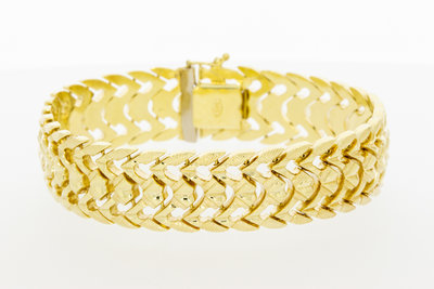 14k gouden fantasie armband- 19 cm