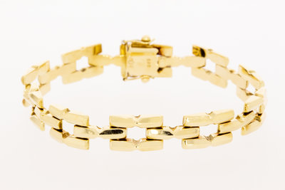 14 Karaat geelgouden armband met vierkante schakels-19 cm