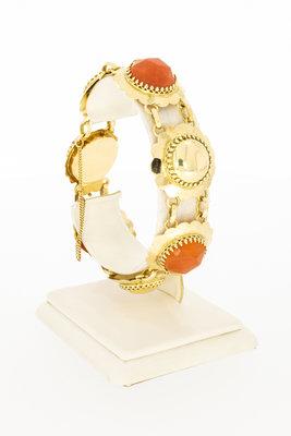 14 Karaat geelgouden armband gezet met Carneool - 18 cm