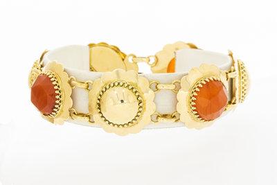 14K brede gouden armband met Carneool- 18 cm