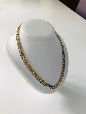 14 K Bicolor gouden Koningsketting met witte spekken- 79 cm