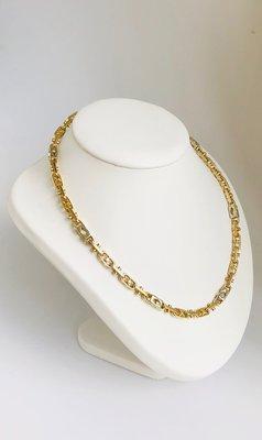 14 Karaat bicolor gouden Monte Carlo Koningsketting - 64 cm