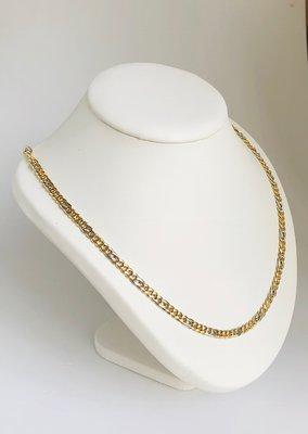 14 Karaat bicolor gouden Gourmet schakelketting - 61 cm
