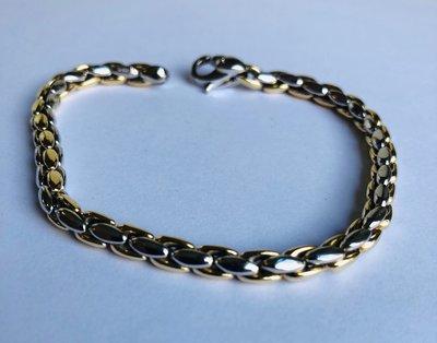 14 karaat bicolor gouden schakelarmband - 19 cm