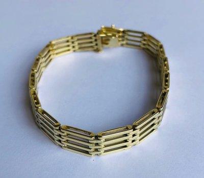Gouden armband met vierkante schakels- 20 cm