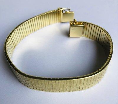 Brede gouden schakelarmband - 18,5 cm