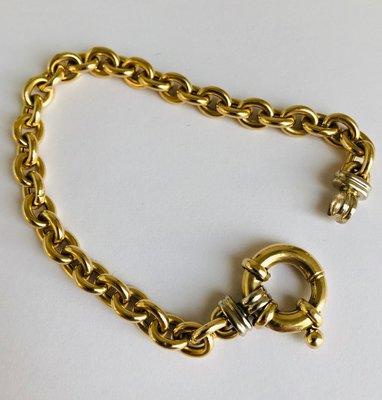 14 karaat bicolor gouden Anker schakelarmband - 19,5 cm VERKOCHT