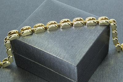 14 karaat geelgouden schakelarmband - 18,5 cm