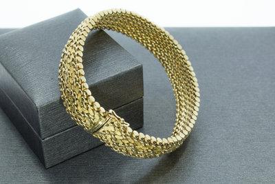 14k brede gouden schakelarmband- 19,5 cm