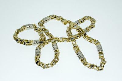 14 karaat Bicolor gouden Magnum Koningsketting- 71 cm