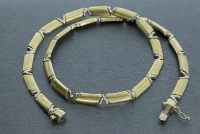 14 karaat Bicolor gouden schakel Collier - 44 cm