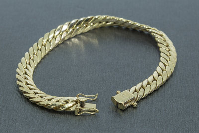 14k gouden gourmet (gesloten) armband- 20 cm GERESERVEERD