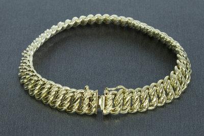 14 karaat geel gouden gevlochten Schakelarmband - 20 cm