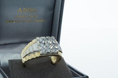 14k gouden zegelring - Rolex style schouders