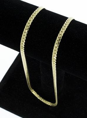 14 Karaat geelgouden gewalste Gourmet ketting - 45,5 cm