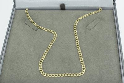 14k gouden afgevlakte Gourmet ketting- 52 cm
