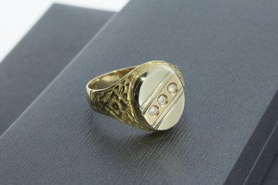 14k bicolor gouden zegelring met Zirkonia