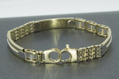 14K bicolor gouden armband- 21 cm VERKOCHT