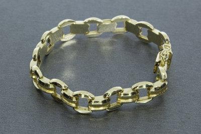 14 karaat brede geel gouden armband - 19 cm