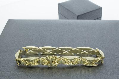 14k gouden gefigureerde brede armband- 19,5 cm