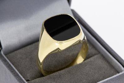 14k gouden zegelring met zwarte Onyx
