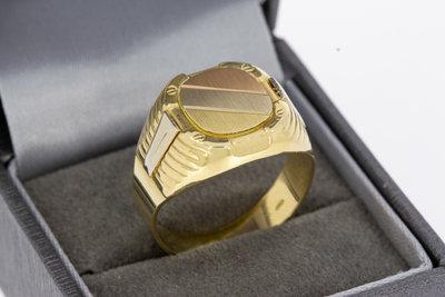 14k gouden zegelring met bicolor zegelbed
