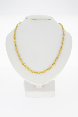 14 Karaat gouden getordeerde Gourmet schakelketting- 60 cm
