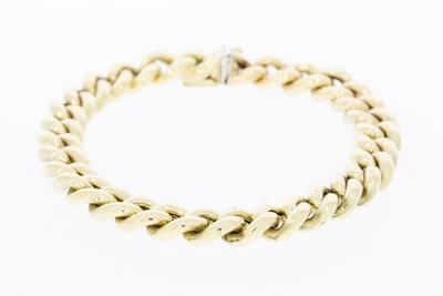 Gouden dubbele gourmet armband-18,5 cm