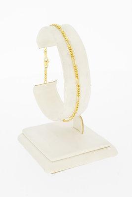 14 karaat geelgouden Figaro schakelarmband - 19 cm