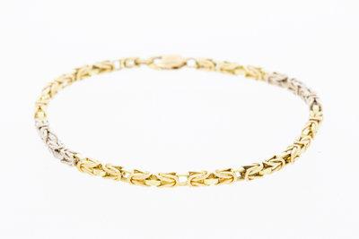 14k bicolor gouden koningsarmband- 19,5 cm