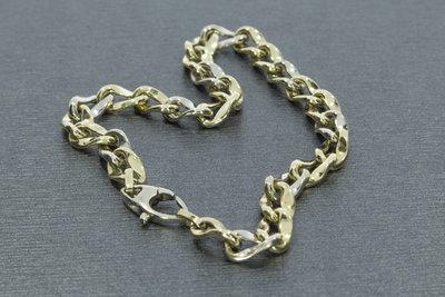 14 karaat bicolor gouden schakel armband - 21 cm