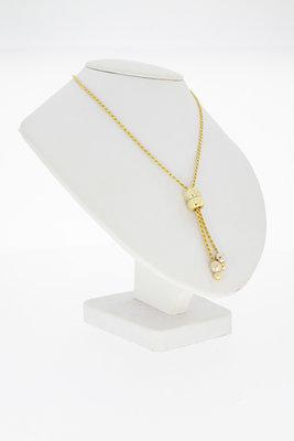 14 Karaat Bicolor gouden koord Collier met hanger- 47 cm