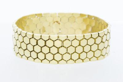 14 Karaat brede geelgouden Honingraad armband - 20 cm