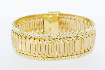 14 Karaat geel gouden armband met bakslot - 19 cm