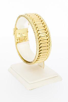 14 Karaat brede geelgouden gevlochten armband - 19 cm