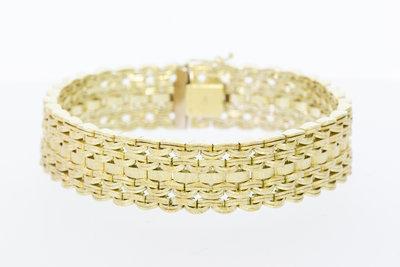 14 Karaat geel gouden brede gevlochten armband - 19 cm