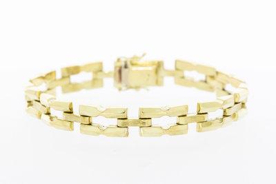 14 karaat gouden brede schakel armband - 18,7 mm