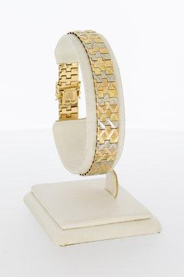 14 Karaat tricolor gouden brede schakel armband - 19 cm