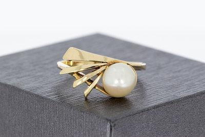 14 karaat geel gouden ring gezet met Cultive Parel