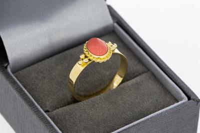 14 Karaat geel gouden Ring gezet met ovale Emaille